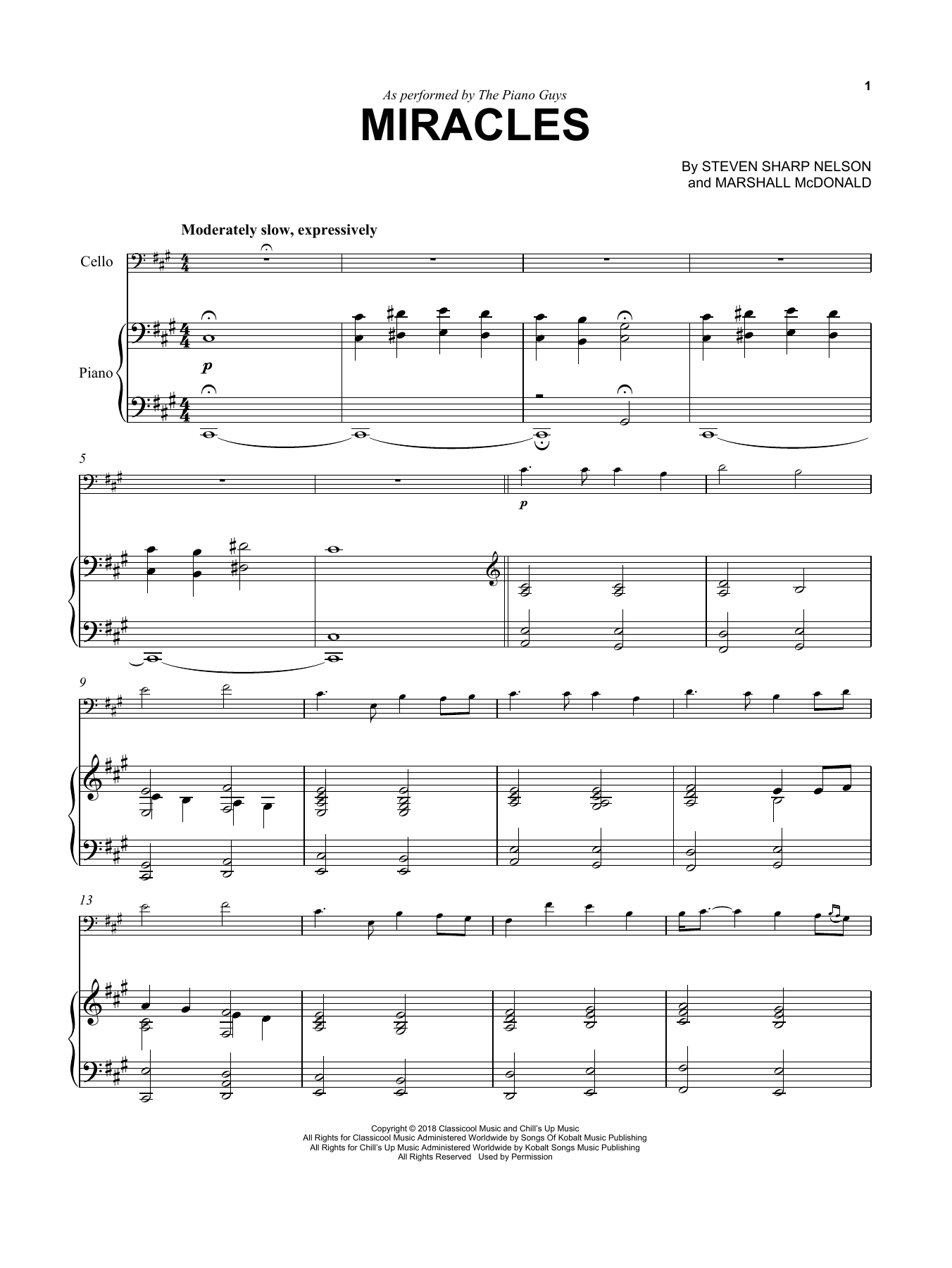 The Piano Guys Miracles sheet music notes and chords. Download Printable PDF.