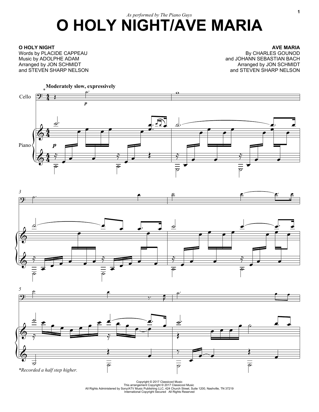 The Piano Guys O Holy Night/Ave Maria sheet music notes and chords. Download Printable PDF.