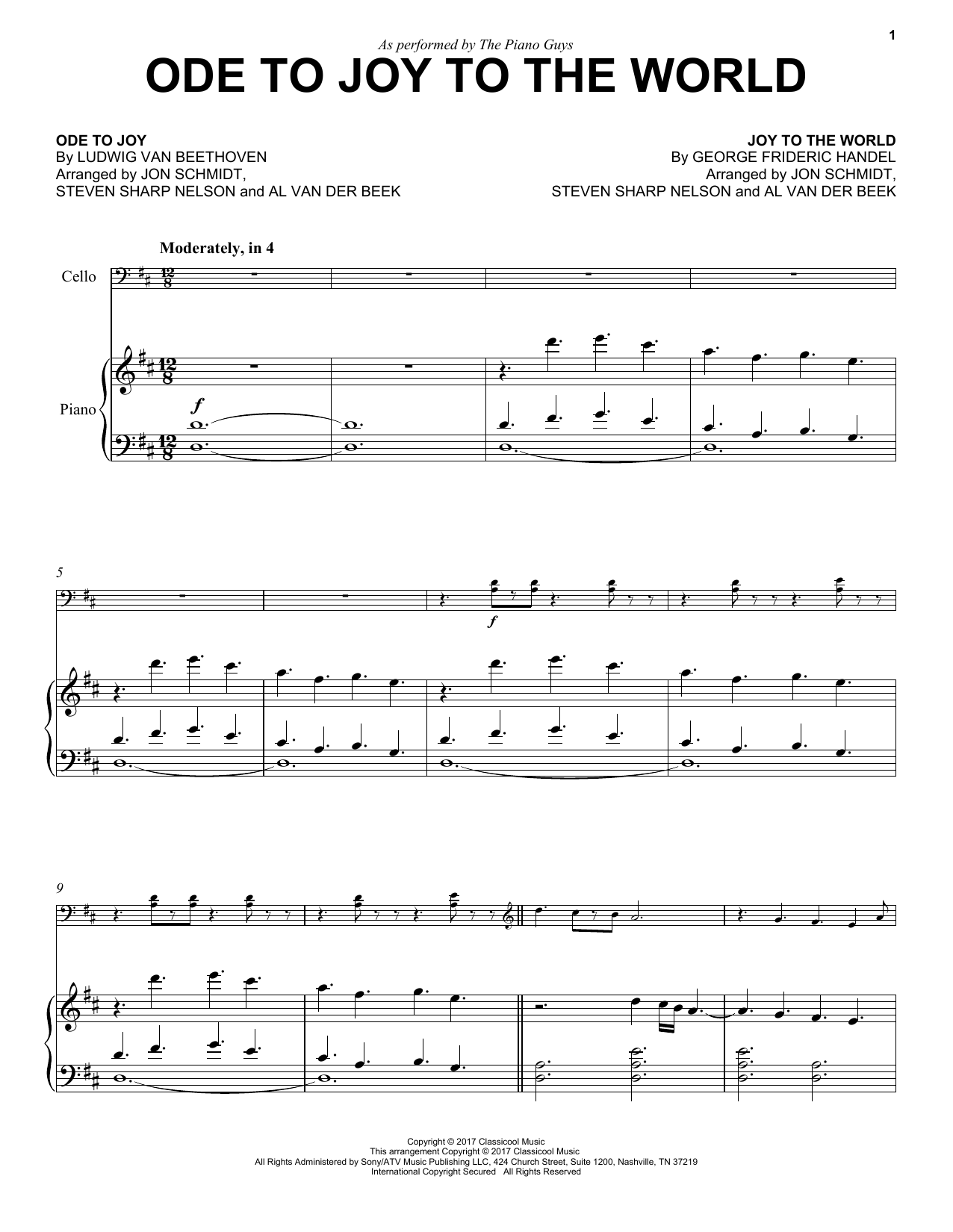 The Piano Guys Ode To Joy to the World sheet music notes and chords