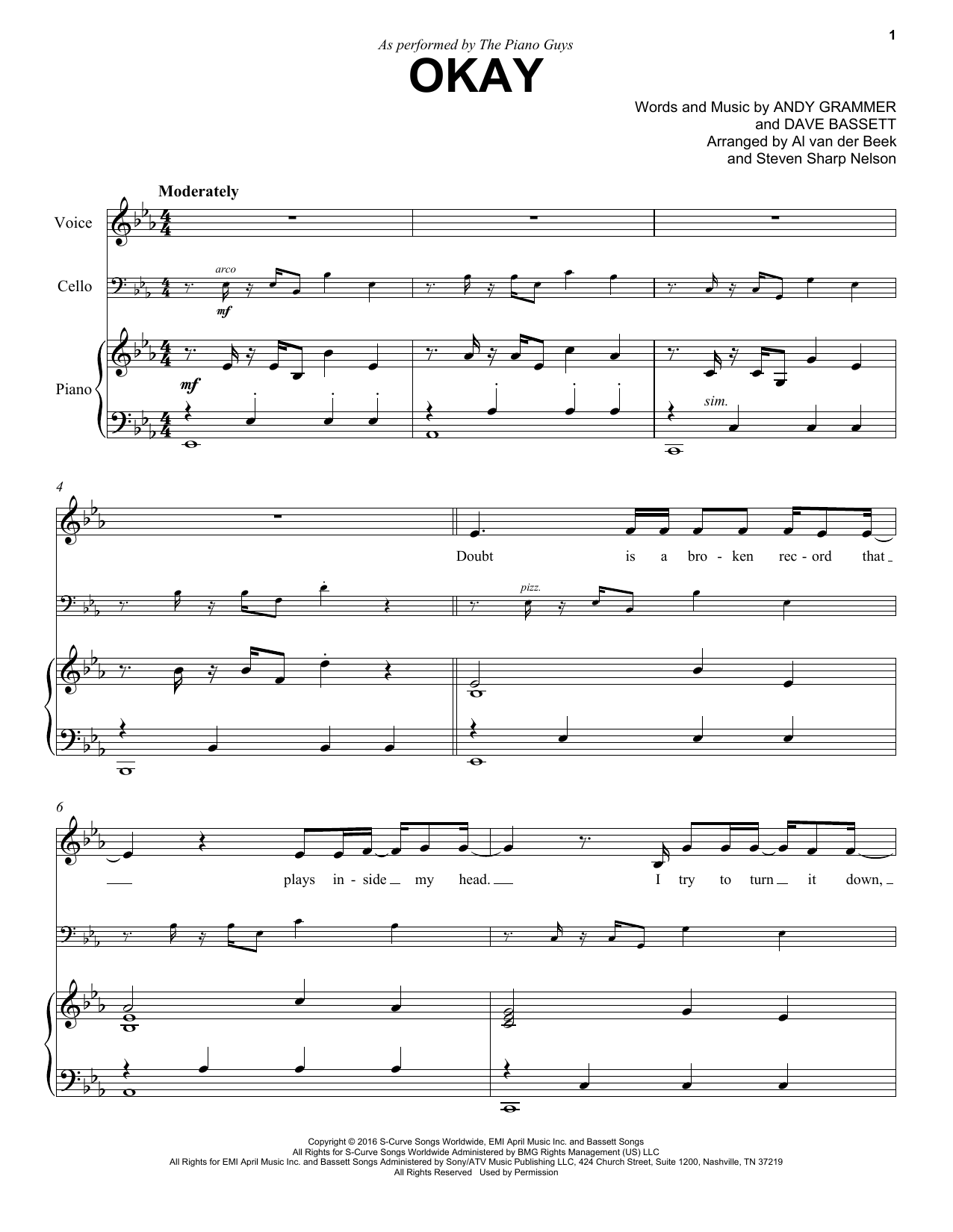 The Piano Guys Okay sheet music notes and chords. Download Printable PDF.