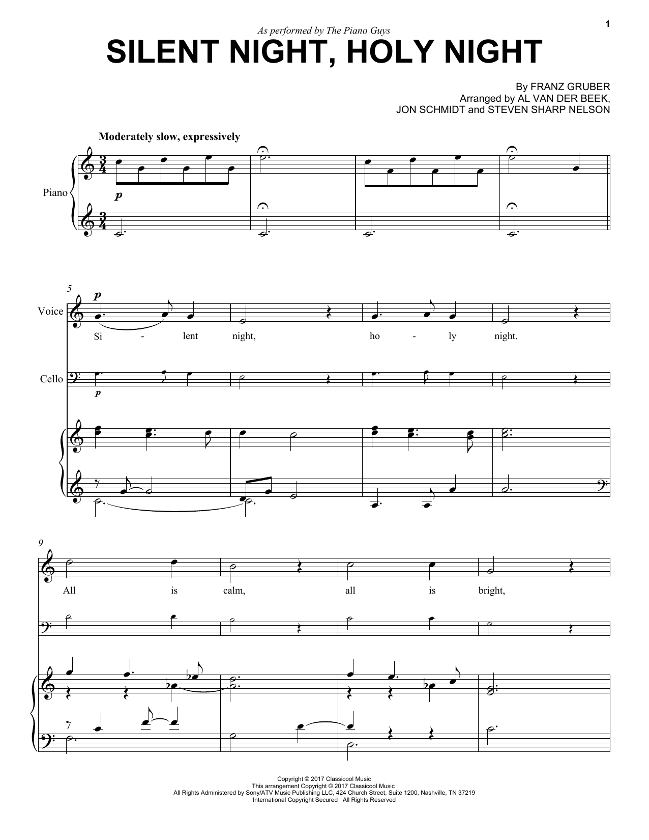 The Piano Guys Silent Night, Holy Night sheet music notes and chords. Download Printable PDF.