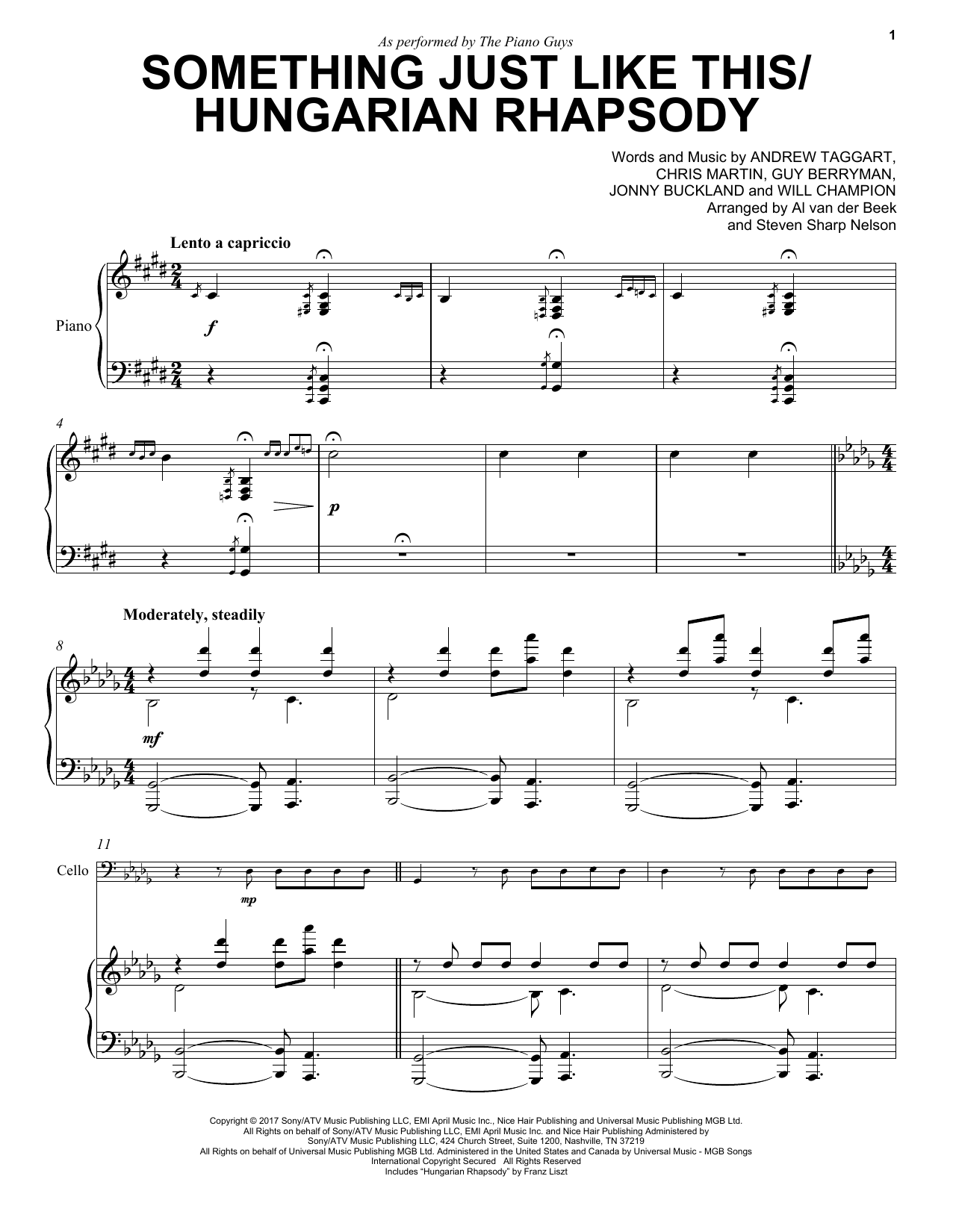The Piano Guys Something Just Like This / Hungarian Rhapsody sheet music notes and chords