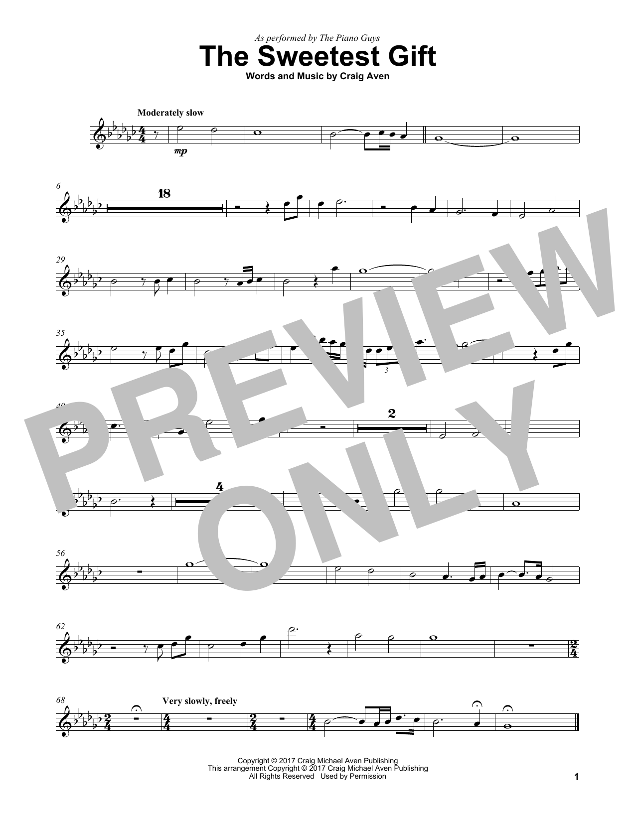 The Piano Guys The Sweetest Gift sheet music notes and chords