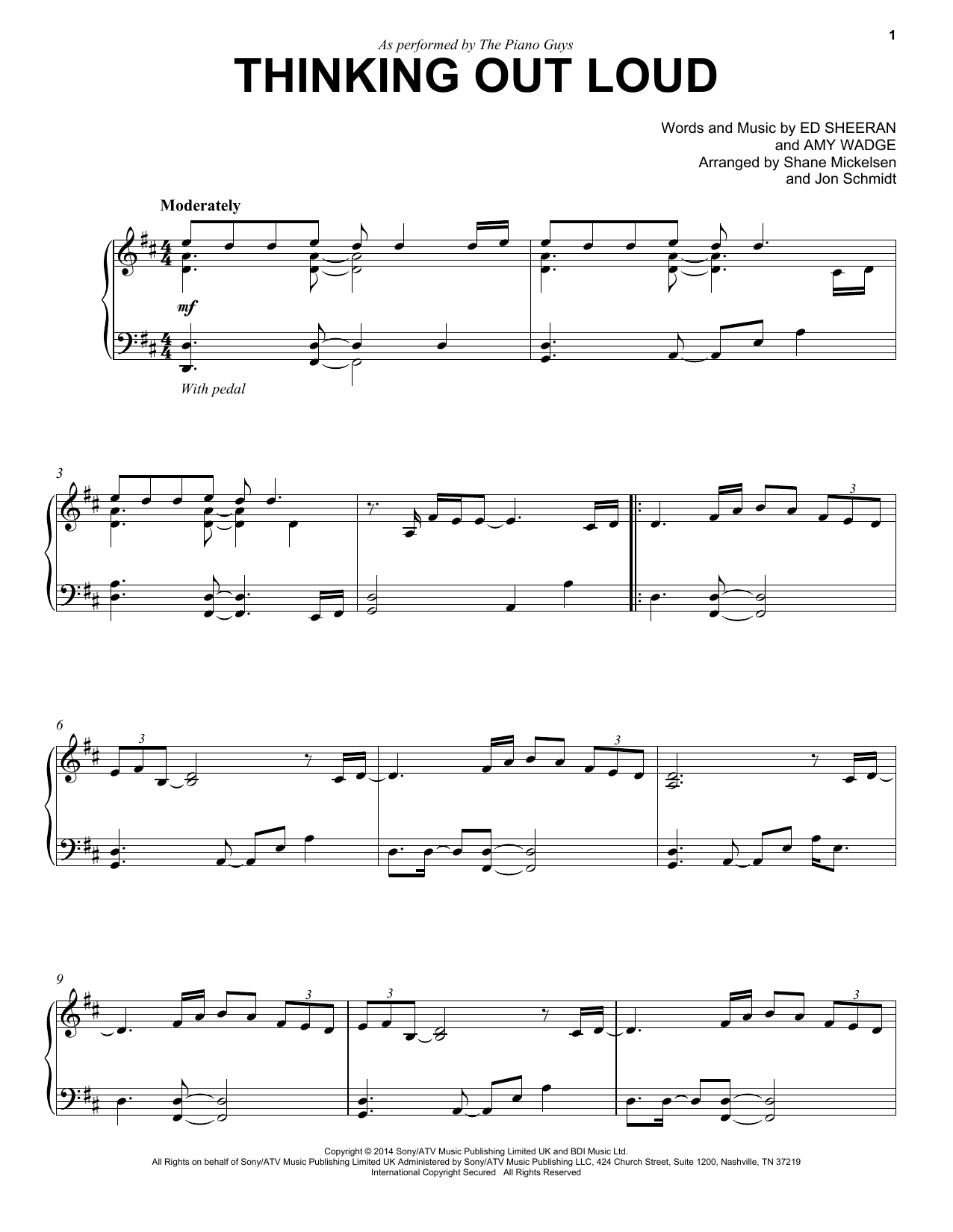 The Piano Guys Thinking Out Loud sheet music notes and chords