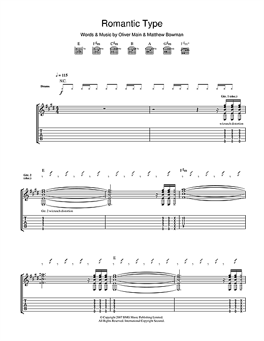 The Pigeon Detectives Romantic Type sheet music notes and chords. Download Printable PDF.