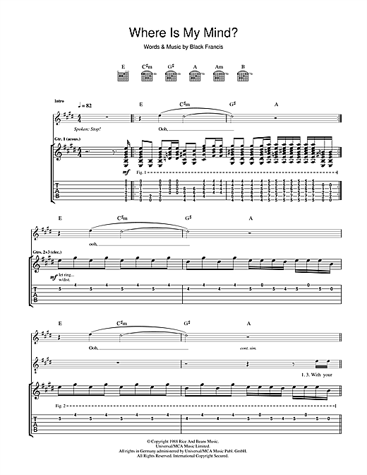 The Pixies Where Is My Mind? sheet music notes and chords. Download Printable PDF.