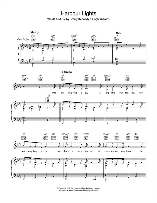 The Platters Harbour Lights sheet music notes and chords. Download Printable PDF.