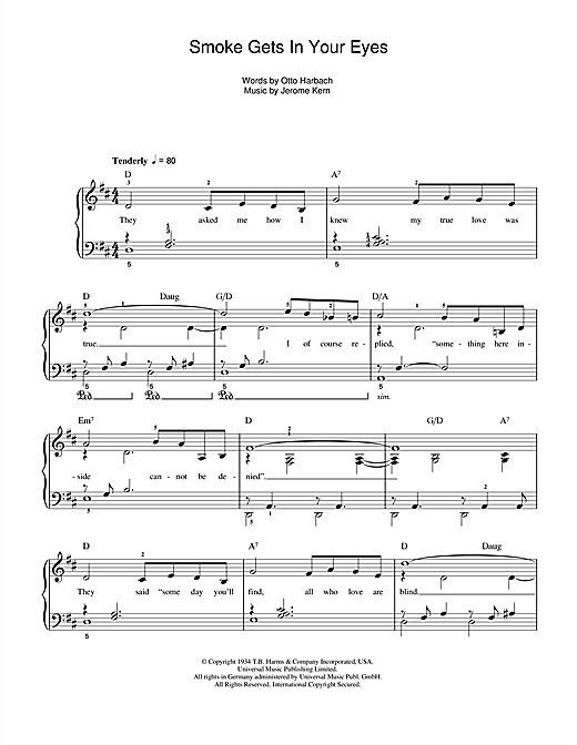 The Platters Smoke Gets In Your Eyes sheet music notes and chords. Download Printable PDF.