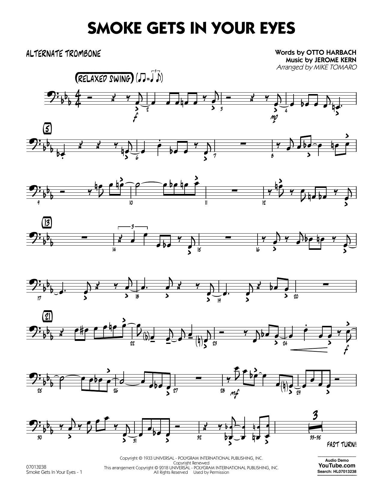 The Platters Smoke Gets In Your Eyes (arr. Mike Tomaro) - Alternate Trombone sheet music notes and chords. Download Printable PDF.