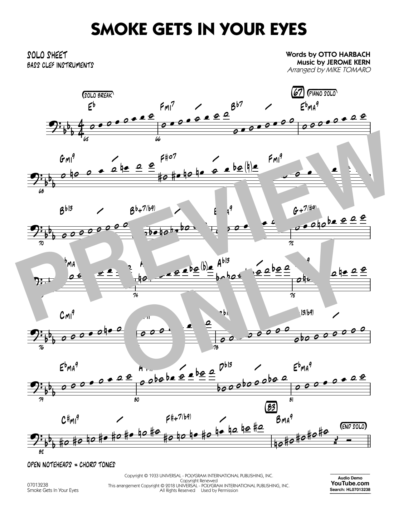 The Platters Smoke Gets In Your Eyes (arr. Mike Tomaro) - Bass Clef Solo Sheet sheet music notes and chords. Download Printable PDF.