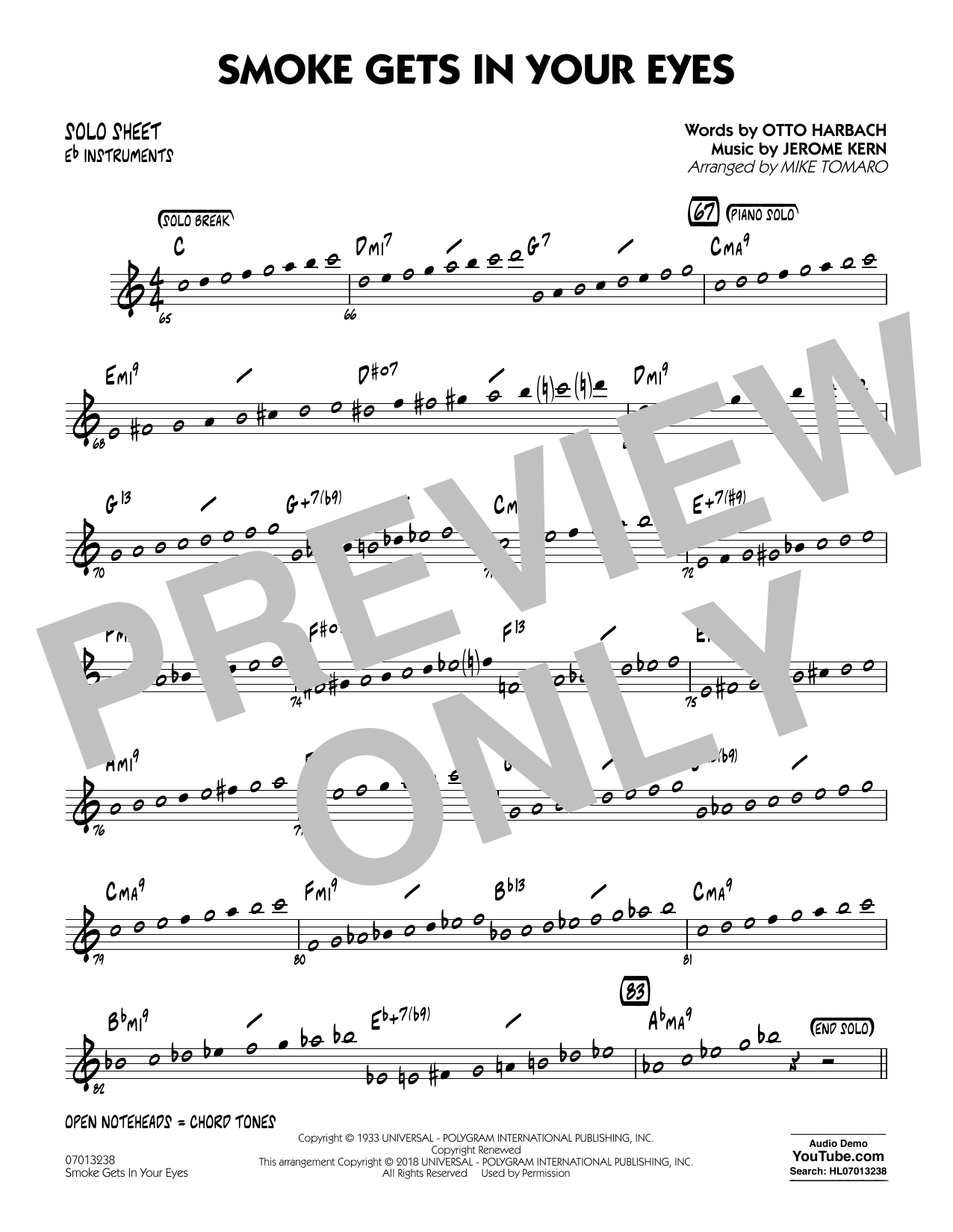 The Platters Smoke Gets In Your Eyes (arr. Mike Tomaro) - Eb Solo Sheet sheet music notes and chords. Download Printable PDF.