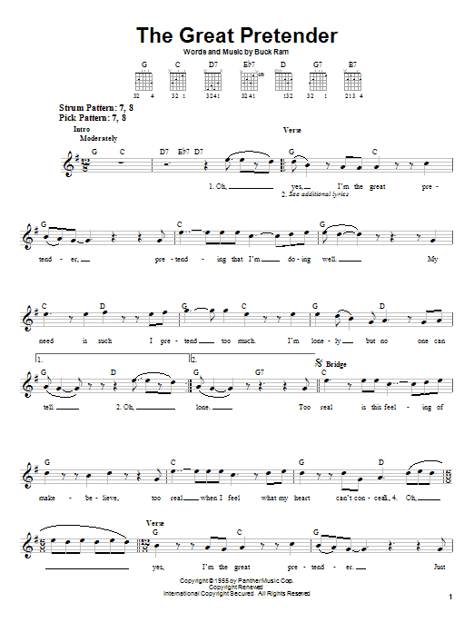 The Platters The Great Pretender sheet music notes and chords. Download Printable PDF.