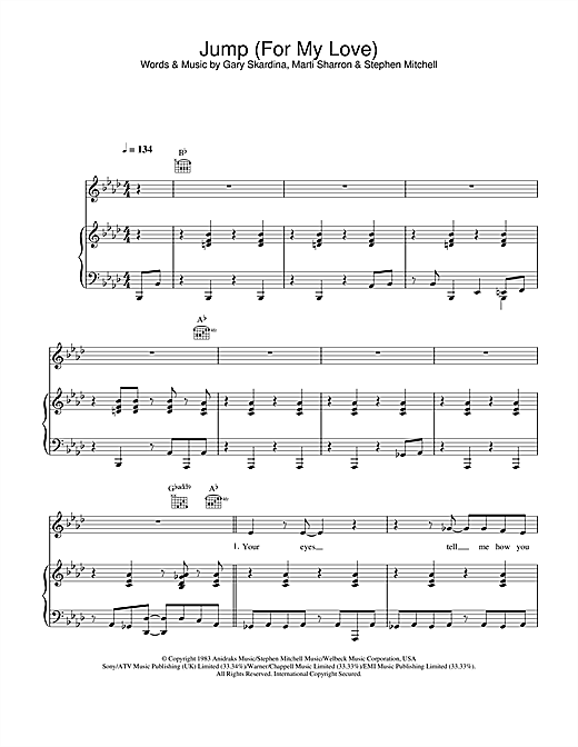 The Pointer Sisters Jump (For My Love) sheet music notes and chords. Download Printable PDF.