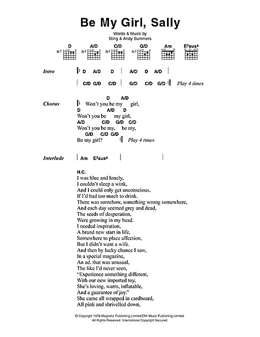 The Police Be My Girl, Sally sheet music notes and chords. Download Printable PDF.