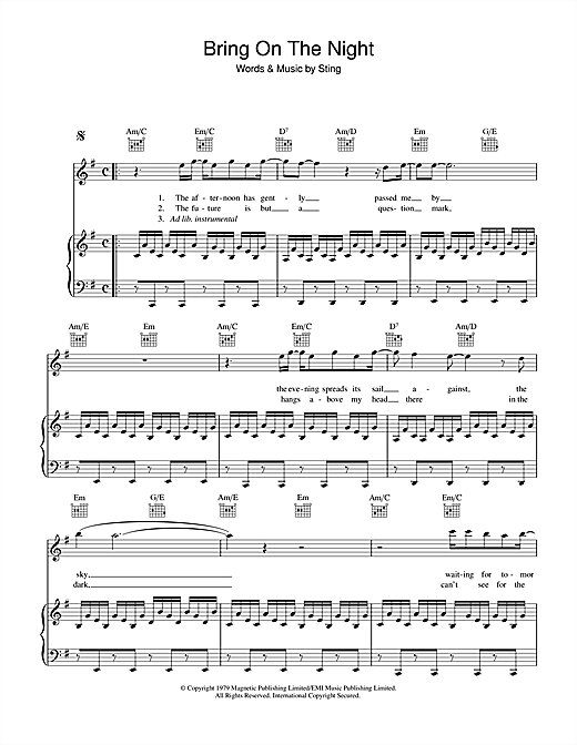 The Police Bring On The Night sheet music notes and chords. Download Printable PDF.