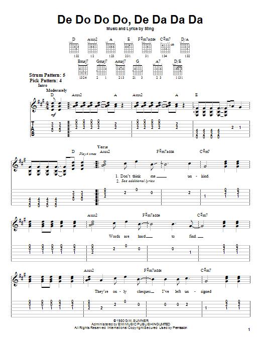 The Police De Do Do Do, De Da Da Da sheet music notes and chords