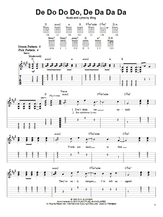 The Police De Do Do Do, De Da Da Da sheet music notes and chords. Download Printable PDF.