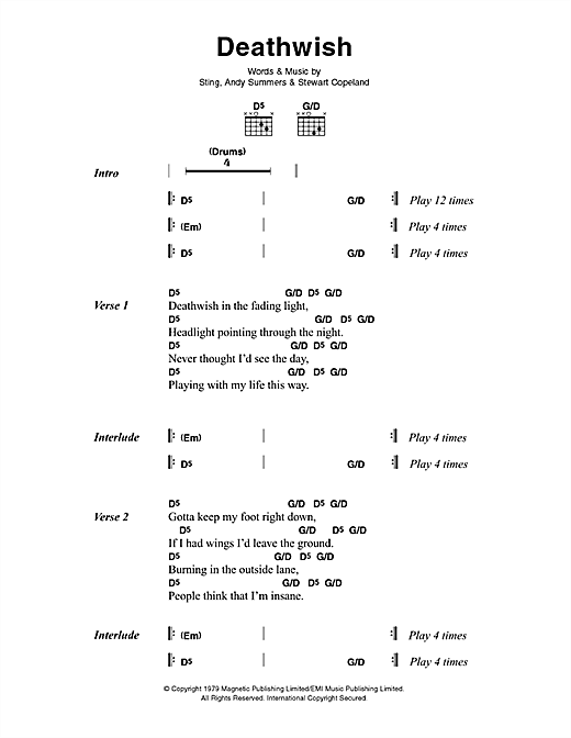 The Police Deathwish sheet music notes and chords. Download Printable PDF.
