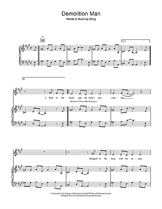 The Police Demolition Man sheet music notes and chords. Download Printable PDF.