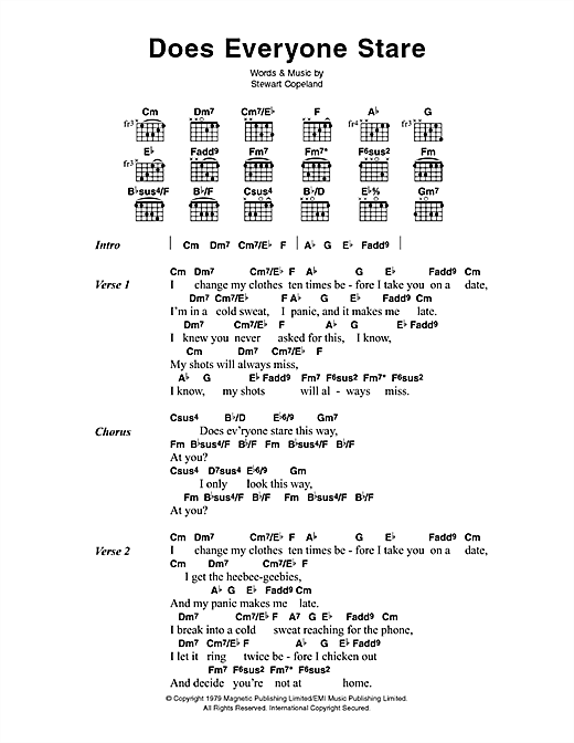 The Police Does Everyone Stare sheet music notes and chords. Download Printable PDF.