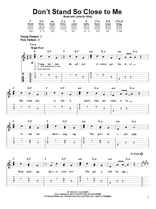 The Police Don't Stand So Close To Me sheet music notes and chords. Download Printable PDF.