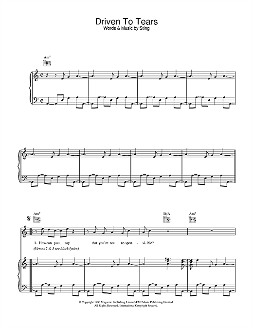 The Police Driven To Tears sheet music notes and chords. Download Printable PDF.