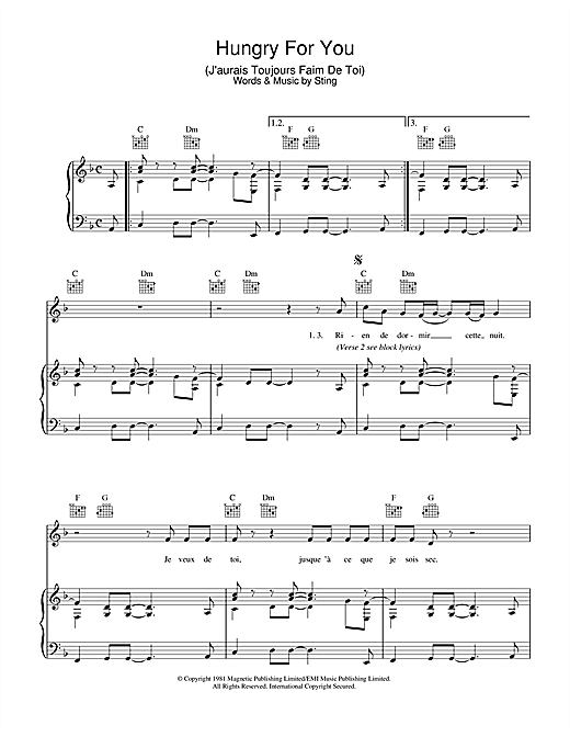 The Police Hungry For You (J'aurais Toujours Faim De Toi) sheet music notes and chords. Download Printable PDF.