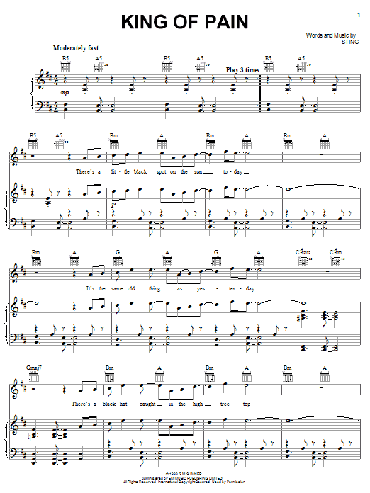 The Police King Of Pain sheet music notes and chords. Download Printable PDF.
