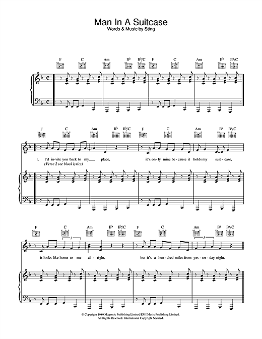 The Police Man In A Suitcase sheet music notes and chords. Download Printable PDF.