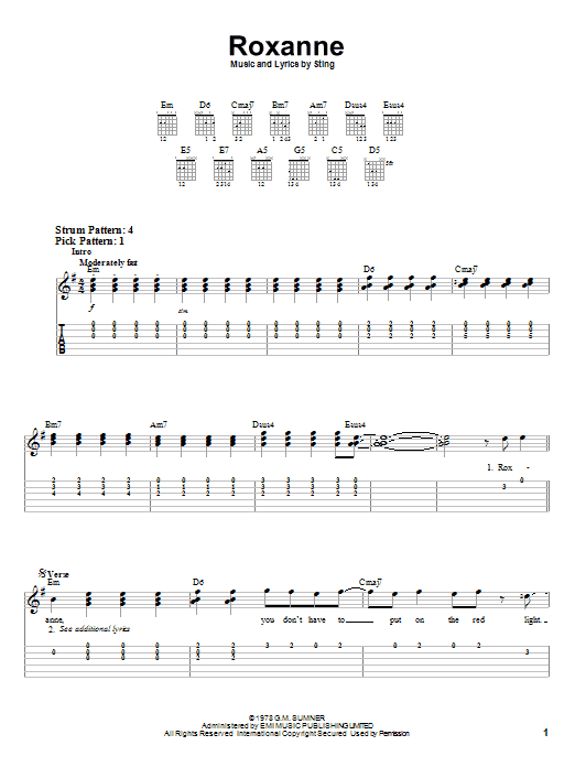 The Police Roxanne sheet music notes and chords. Download Printable PDF.
