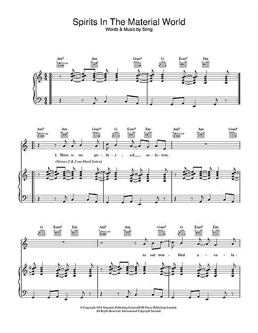 The Police Spirits In The Material World sheet music notes and chords. Download Printable PDF.