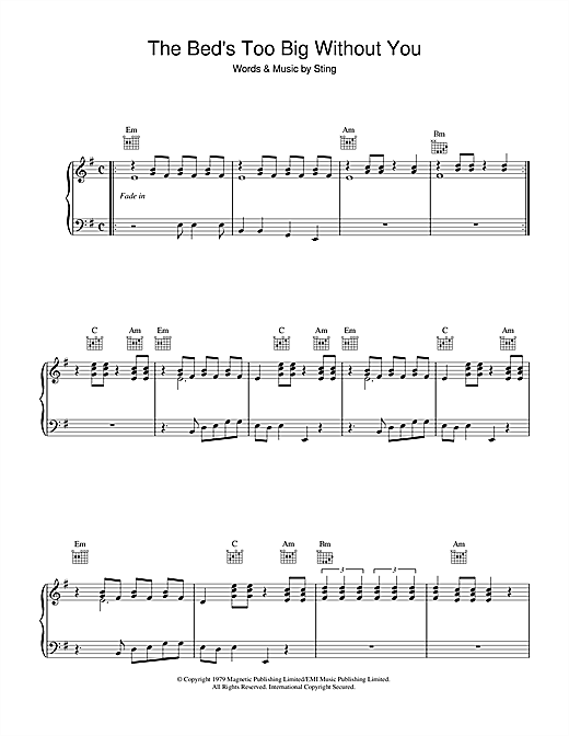 The Police The Bed's Too Big Without You sheet music notes and chords. Download Printable PDF.