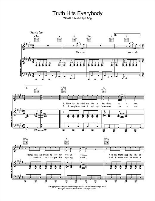 The Police Truth Hits Everybody sheet music notes and chords. Download Printable PDF.