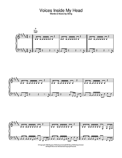 The Police Voices Inside My Head sheet music notes and chords. Download Printable PDF.