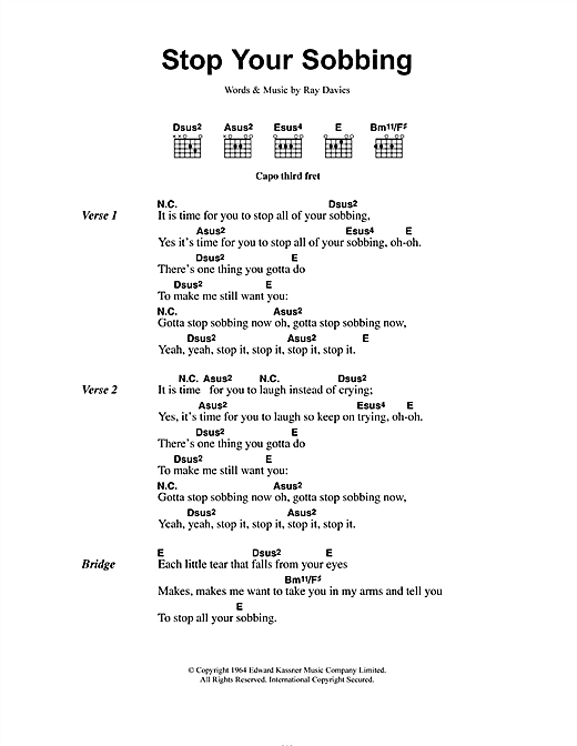 The Pretenders Stop Your Sobbing sheet music notes and chords. Download Printable PDF.