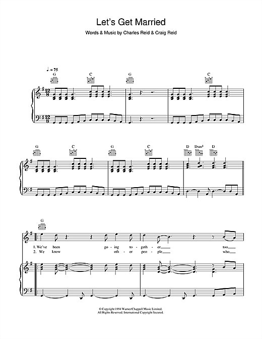 The Proclaimers Let's Get Married sheet music notes and chords. Download Printable PDF.