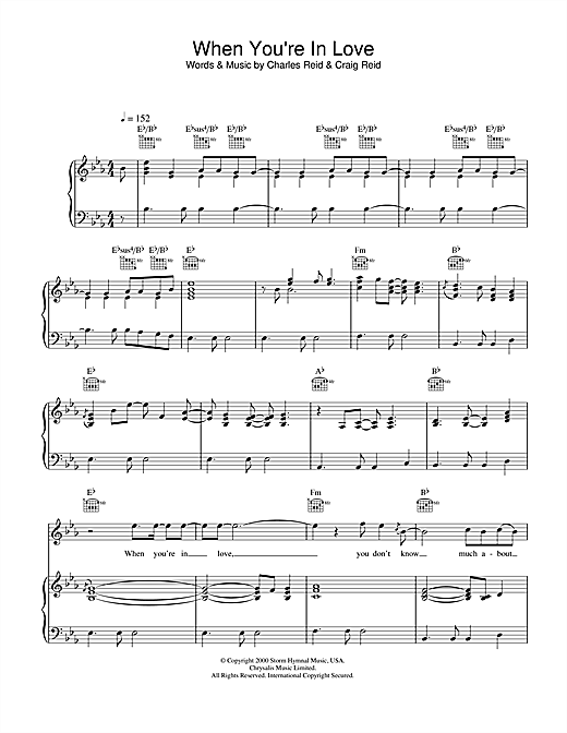The Proclaimers When You're In Love sheet music notes and chords