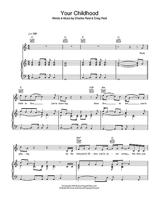 The Proclaimers Your Childhood sheet music notes and chords. Download Printable PDF.