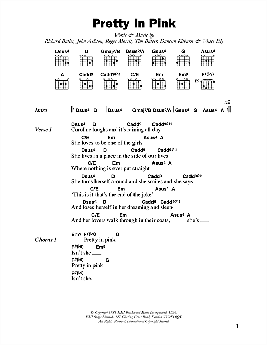 The Psychedelic Furs Pretty In Pink sheet music notes and chords. Download Printable PDF.