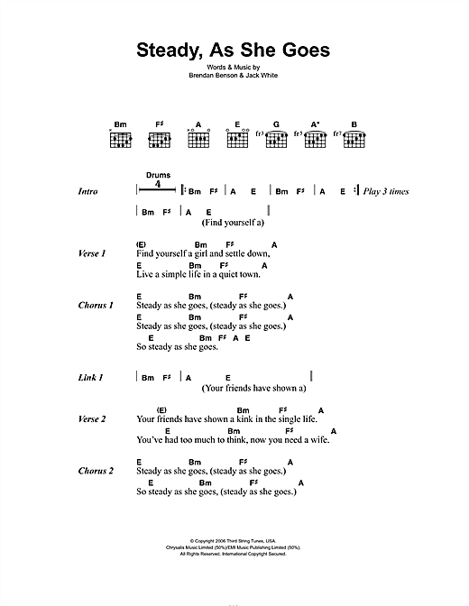 The Raconteurs Steady, As She Goes sheet music notes and chords. Download Printable PDF.