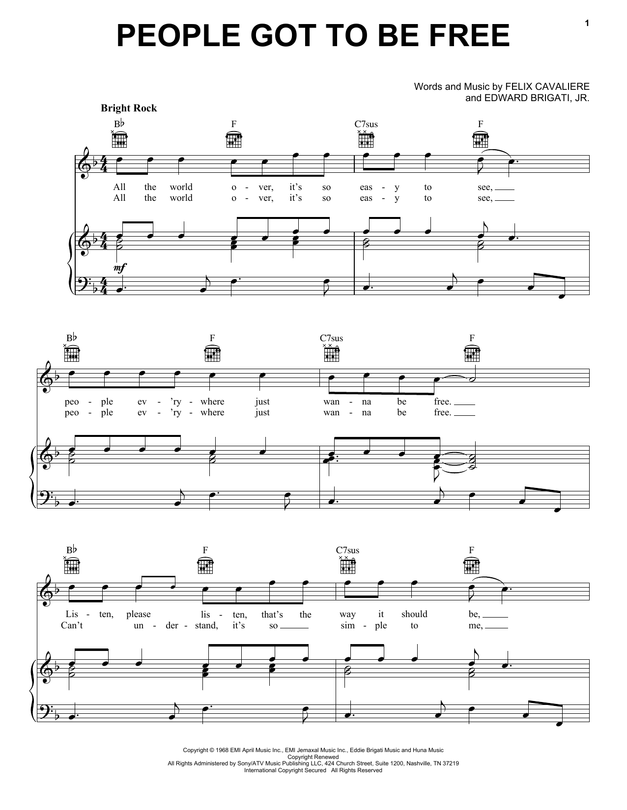 The Rascals People Got To Be Free sheet music notes and chords. Download Printable PDF.