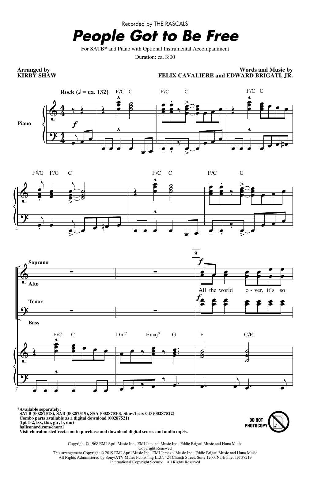 The Rascals People Got To Be Free (arr. Kirby Shaw) sheet music notes and chords