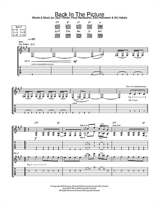 The Rasmus Back In The Picture sheet music notes and chords. Download Printable PDF.