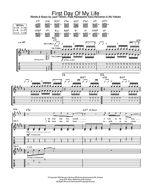 The Rasmus First Day Of My Life sheet music notes and chords. Download Printable PDF.