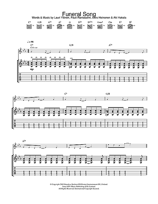 The Rasmus Funeral Song sheet music notes and chords. Download Printable PDF.