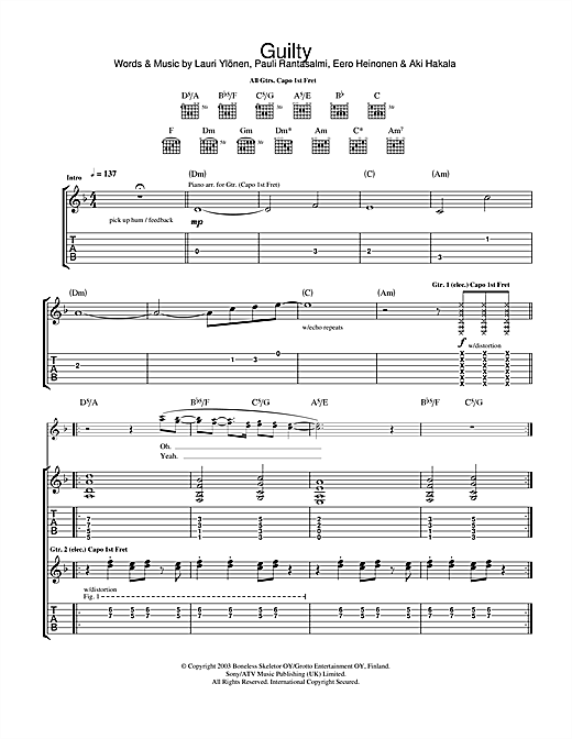 The Rasmus Guilty sheet music notes and chords. Download Printable PDF.