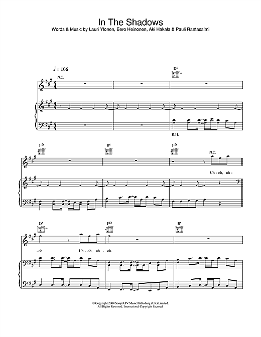 The Rasmus In The Shadows sheet music notes and chords. Download Printable PDF.