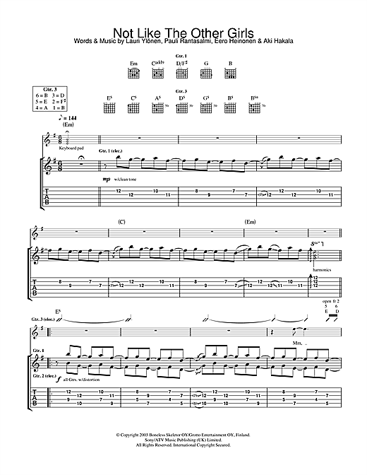 The Rasmus Not Like The Other Girls sheet music notes and chords. Download Printable PDF.