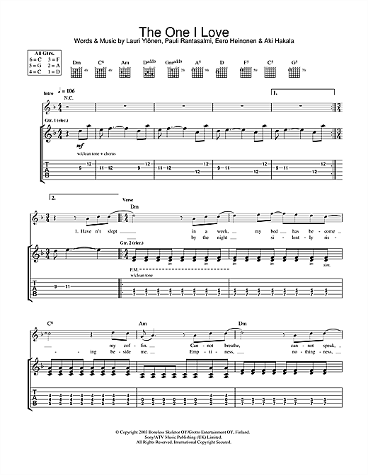 The Rasmus The One I Love sheet music notes and chords. Download Printable PDF.