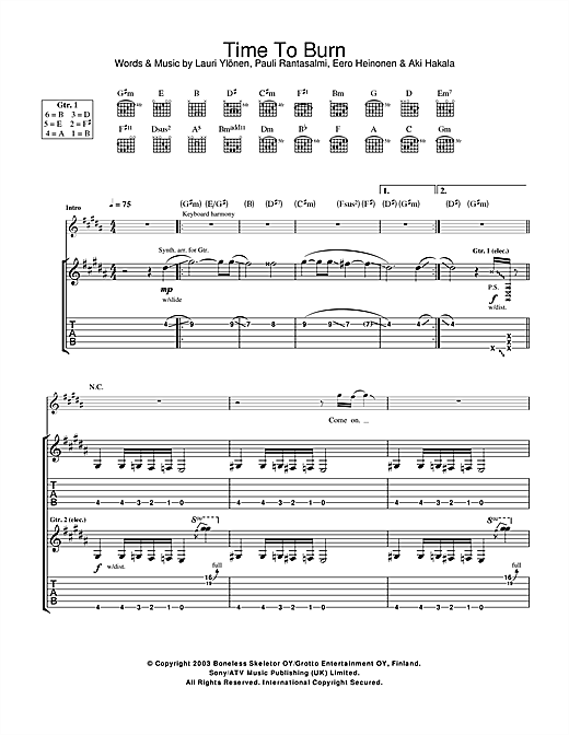 The Rasmus Time To Burn sheet music notes and chords. Download Printable PDF.